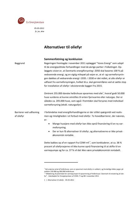 Alternativer til oliefyr - Ea Energianalyse