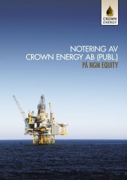 NOTERING AV CROWN ENERGY AB (PUBL.) På nGM EQUITY