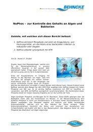NoPhos – zur Kontrolle  des Gehalts an Algen und Bakterien