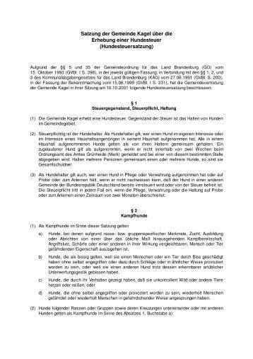 Satzung der Gemeinde Kagel über die Erhebung einer Hundesteuer ...