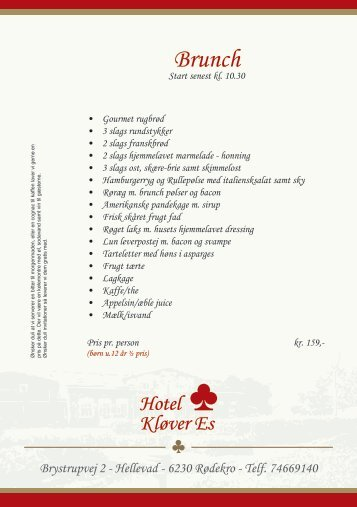 Buffet brunch menu