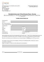 Aanmeldingsformulier handelsmissie naar China ... - Dutch Chamber