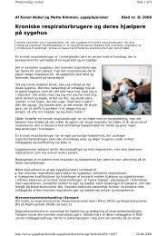 Kroniske respiratorbrugere og deres hjælpere på sygehus - PTU