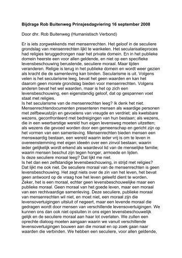Bijdrage Rob Buitenweg Prinsjesdagviering 16 september 2008 ...