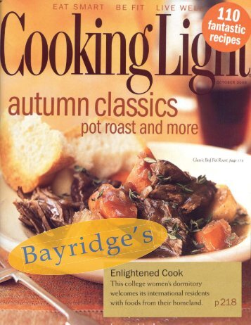 Bayridge cooking featured in Cookinglight article!