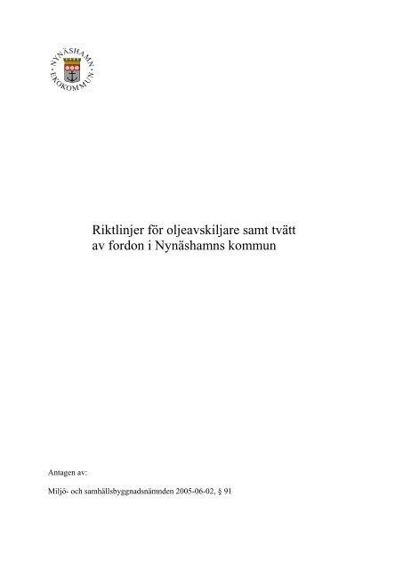 Riktlinjer för oljeavskiljare - Nynäshamns kommun