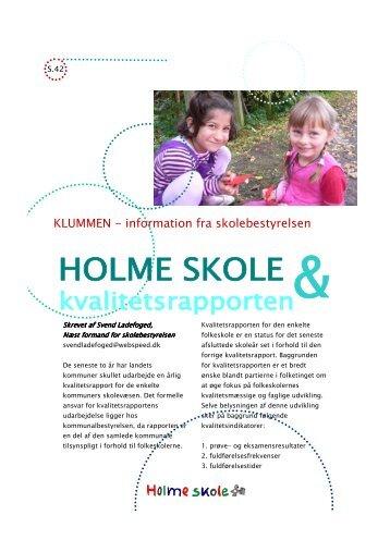Klummen skolebestyrelsen om kvalitetsrapporten - Holme Skole