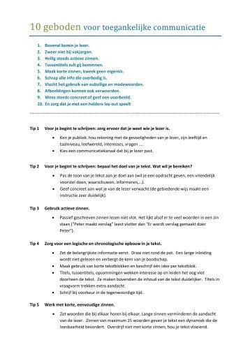 10 geboden voor toegankelijke communicatie - Kortom