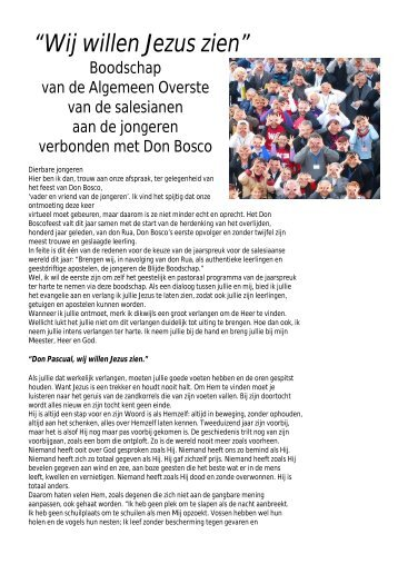 """""""Wij willen Jezus zien"""" - Zusters van Don Bosco"""