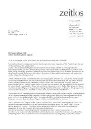 Pressemitteilung Nr. 1 / April 2008 - Zeitlos - das Generationen ...
