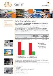 Flyer der Produkte und Dienstleistungen von Kerfa