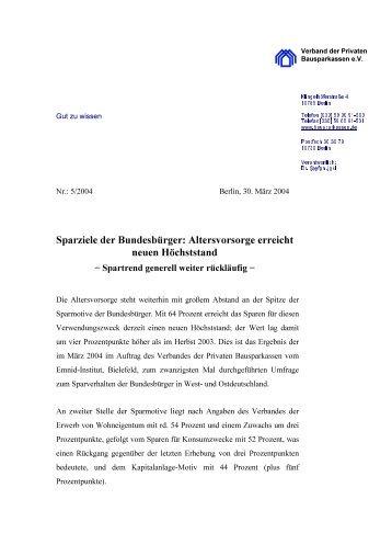 Sparziele der Bundesbürger: Altersvorsorge erreicht neuen ...