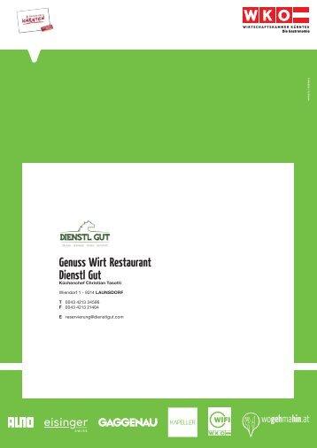 Genuss Wirt Restaurant Dienstl Gut - Wogehmahin.at