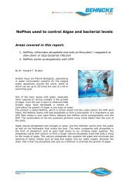 Nophos used to control Algae and bacterial levels