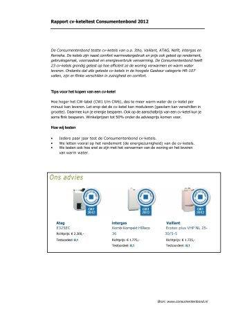 Rapport cv-keteltest Consumentenbond 2012 - Vereniging Eigen Huis