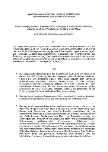 Vereinbarung Jäger und Landkreis Bad Dürkheim