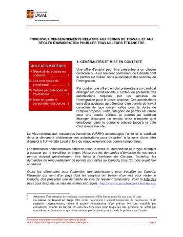 Principaux renseignements relatifs aux permis de travail et aux ...