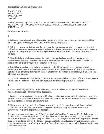Presidente da Câmara Municipal da Maia Rec.n.º 47 - Provedor de ...
