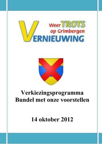 Verkiezingsprogramma Bundel met onze ... - Yves Verberck