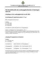Die Geschäftsstelle des - Landesjagdverband Rheinland-Pfalz