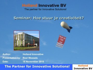 Seminar: Hoe stuur je creativiteit? - Holland Innovative