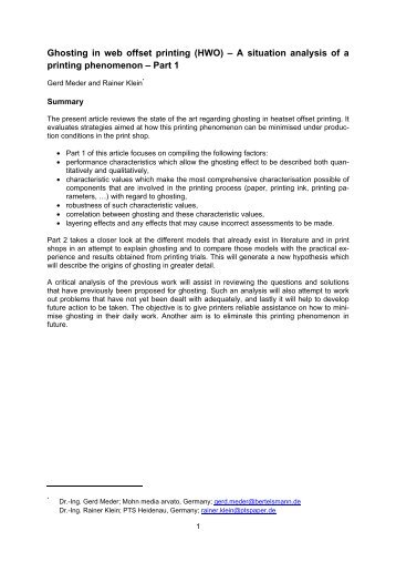 Ghosting in web offset printing - IPW. International Paper World
