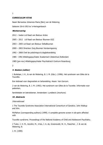 Verkort curriculum vitae dr. B.J.M. van de Wetering - Bouman GGZ