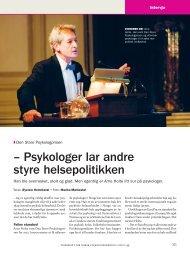 – Psykologer lar andre styre helsepolitikken - Tidsskrift for Norsk ...