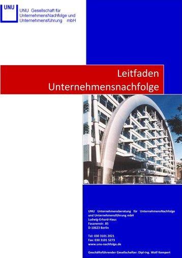 Leitfaden zur Unternehmensnachfolge - UNU Gesellschaft für ...