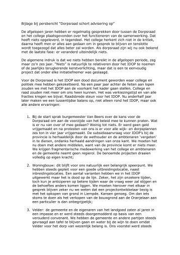 Bijlage opschorten advisering. - SP Boxtel