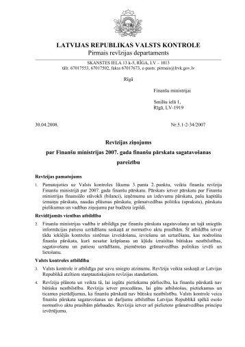 Revīzijas ziņojums - Valsts kontrole