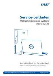 Service-Leitfaden MSI Notebooks und Systeme Deutschland - b.com
