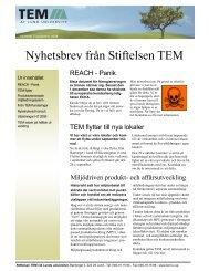 Nyhetsbrev från Stiftelsen TEM nr 3 2008 - TEM-funderingar