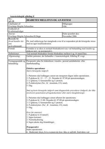 DIABETES MELLITUS OG ANÆSTESI - Erfaringsregistrering