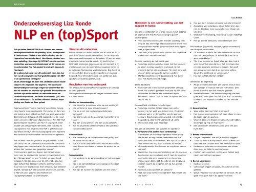 NLP en (top)Sport - Nederlandse Vereniging voor NLP