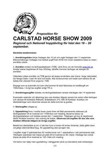 Proposition Carlstad Horse Show 2009 - Karlstads Ridklubb