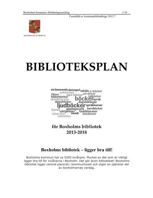 J 18 Biblioteksplan - Boxholm kommun - Boxholms kommun