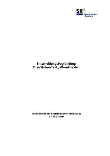 Entscheidungsbegründung des Rundfunkrates zu SR-online.de