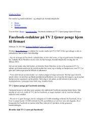 Facebook-redaktør på TV 2 tjener penge hjem til firmaet