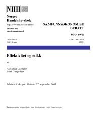 Effektivitet og etikk - NHH
