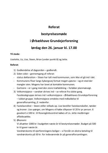 Referat bestyrelsesmøde i Ørbækhave Grundejerforening lørdag ...