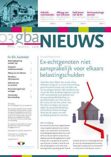 Nieuwsbrief derde kwartaal 2010 - GBA-Adviseurs