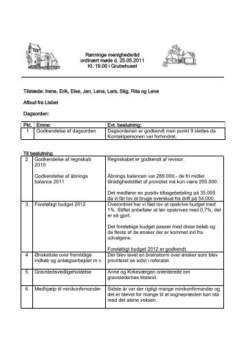 Referat af offentligt møde - Rønninge Kirke