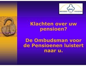 Klachten over uw pensioen? - Kempische Verzekeringskring
