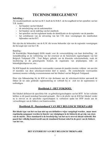 TECHNISCH REGLEMENT - Koninklijke Maatschappij het Belgisch ...
