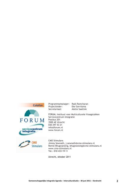 """""""Interculturalisatie die verbindt"""" - Forum, Instituut voor ..."""