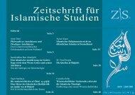 Zeitschrift für Islamische Studien 4. Ausgabe