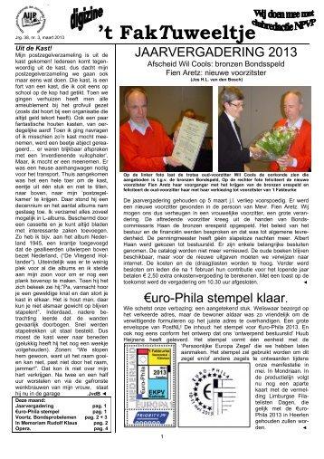 Jrg. 38, nr. 3, maart 2013 - Eerste Kerkraadse Philatelisten Vereniging