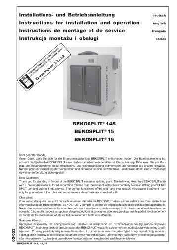 BEKOSPLIT® 14S BEKOSPLIT® 15 ... - BEKO Technologies Gmbh