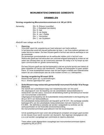 Verslag vergadering monumentencommissie d.d. 6 juli 2010